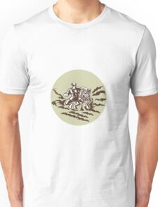 Tiitii Wrestling God of Earthquake Circle Woodcut Unisex T-Shirt
