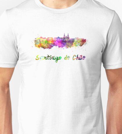Santiago de Chile skyline in watercolor Unisex T-Shirt