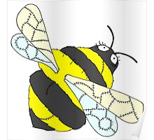 Patchwork Fluffy Bee Design Poster