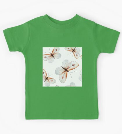 Beautiful big butterflies in brown tones and white butterfly design, cute bold animal print design in brown and white, classic statement fashion clothing, soft furnishings and home decor  Kids Tee