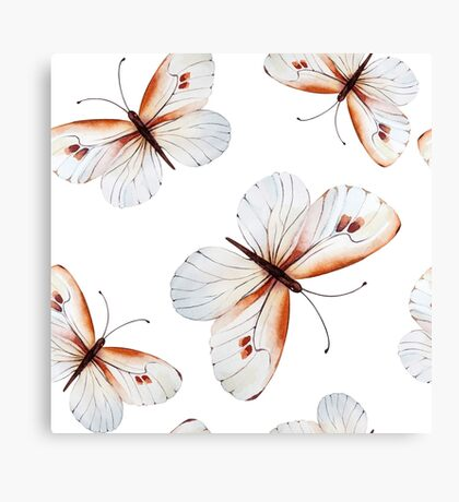 Beautiful big butterflies in brown tones and white butterfly design, cute bold animal print design in brown and white, classic statement fashion clothing, soft furnishings and home decor  Canvas Print