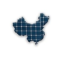 Map of China with photovoltaic solar panels. Photographic Print
