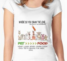 WHERE DO YOU DRAW THE LINE? CARNISM. Women's Fitted Scoop T-Shirt