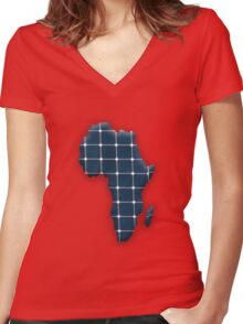 Map of the African continent with photovoltaic solar panels.  Women's Fitted V-Neck T-Shirt