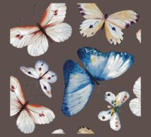Butterflies multi colour in flight, pretty blue, orange, brown and white butterfly design, cute bold animal print design, classic statement fashion clothing, soft furnishings and home decor  One Piece - Short Sleeve