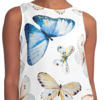 Butterflies multi colour in flight, pretty blue, orange, brown and white butterfly design, cute bold animal print design, classic statement fashion clothing, soft furnishings and home decor  Contrast Tank