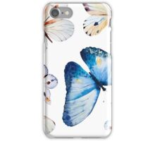 Butterflies multi colour in flight, pretty blue, orange, brown and white butterfly design, cute bold animal print design, classic statement fashion clothing, soft furnishings and home decor  iPhone Case/Skin