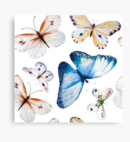 Butterflies multi colour in flight, pretty blue, orange, brown and white butterfly design, cute bold animal print design, classic statement fashion clothing, soft furnishings and home decor  Canvas Print
