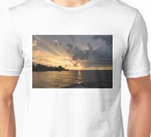 Rough Sunrise - Golden God Rays and Purple Clouds Unisex T-Shirt