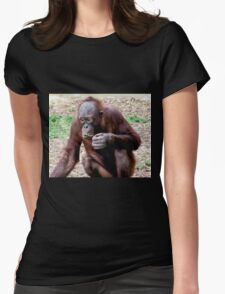 Baby orangatang eating Womens Fitted T-Shirt