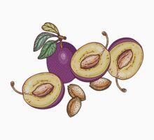 Romantic plum pattern One Piece - Short Sleeve