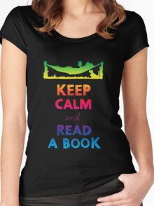 KEEP CALM AND READ A BOOK (RAINBOW) Women's Fitted Scoop T-Shirt