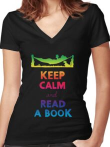 KEEP CALM AND READ A BOOK (RAINBOW) Women's Fitted V-Neck T-Shirt