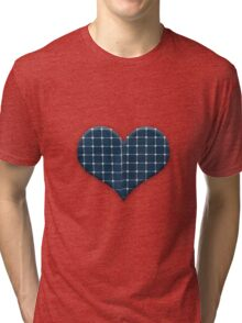 Love heart with photovoltaic solar panels. Tri-blend T-Shirt