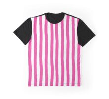 Preppy Hibiscus Pink and White Cabana Stripes Graphic T-Shirt