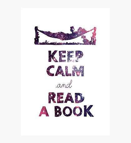 KEEP CALM AND READ A BOOK (Space) Photographic Print
