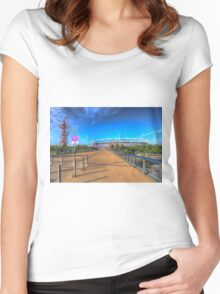 West Ham FC Stadium And The Arcelormittal Orbit  Women's Fitted Scoop T-Shirt