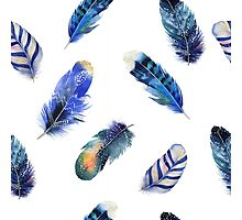 Feathers, beautiful colourful collection in watercolour in blues - cute bold animal print design, classic statement fashion clothing, soft furnishings and home decor  Photographic Print