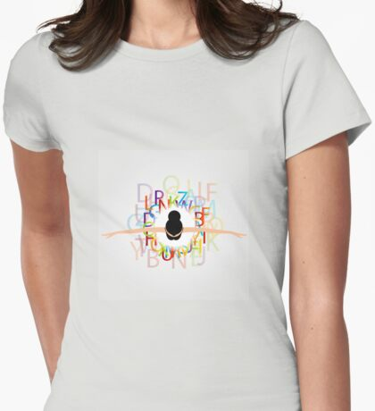 Dancer with alphabets on dress  Womens Fitted T-Shirt