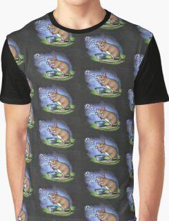 Little Mouse Blowing Bubbles, Original Pastel Art Graphic T-Shirt
