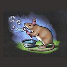 Little Mouse Blowing Bubbles, Original Pastel Art by Joyce Geleynse