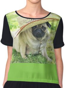Young pug with a hat Chiffon Top