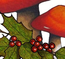 Christmas Holly with Red Mushrooms and Twigs, Drawing Sticker