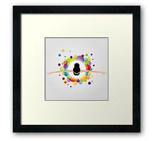 illustration of dancing ballerina wearing a colorful dress  Framed Print
