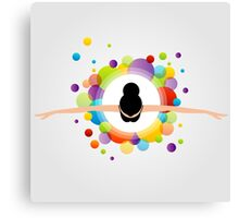 illustration of dancing ballerina wearing a colorful dress  Canvas Print