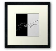 Hands showing the creation of Adam Framed Print