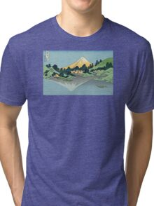 Hokusai Katsushika - Mount Fuji reflects in Lake Kawaguchi, seen from the Misaka Pass in Kai Province Tri-blend T-Shirt