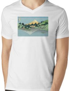 Hokusai Katsushika - Mount Fuji reflects in Lake Kawaguchi, seen from the Misaka Pass in Kai Province Mens V-Neck T-Shirt