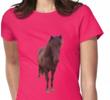 icelandic horse on rose quartz background Womens Fitted T-Shirt