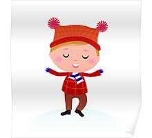 Little Boy in winter costume isolated on white Poster
