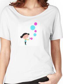 Little girl blowing bubbles - cartoon Vector illustration Women's Relaxed Fit T-Shirt