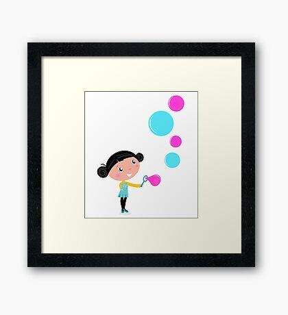 Little girl blowing bubbles - cartoon Vector illustration Framed Print