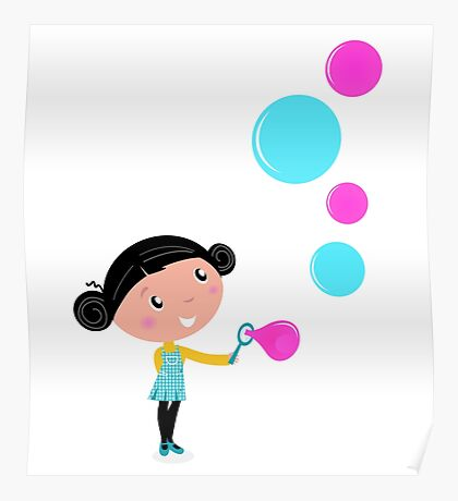Little girl blowing bubbles - cartoon Vector illustration Poster
