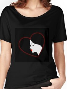 A beautiful girl in a red glowing heart  Women's Relaxed Fit T-Shirt