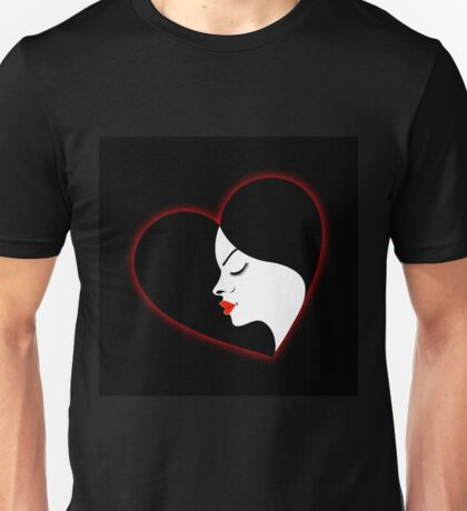 A beautiful girl in a red glowing heart  Unisex T-Shirt