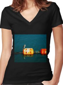 Penguin at Apollo Bay Women's Fitted V-Neck T-Shirt