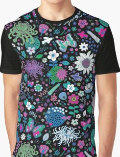 Japanese Garden - Pink, green, blue and white on Black Graphic T-Shirt