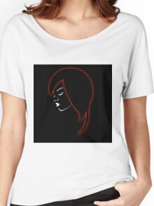 A beautiful girl in a red glowing hair  Women's Relaxed Fit T-Shirt