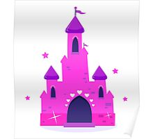 Wild pink Princess castle isolated on white background Poster