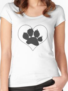 Paw Print In Heart 1 Women's Fitted Scoop T-Shirt