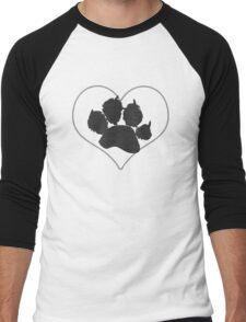 Paw Print In Heart 1 Men's Baseball ¾ T-Shirt