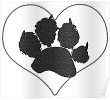 Paw Print In Heart 1 Poster