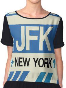 John F. Kennedy International Airport Tag Graphic Chiffon Top