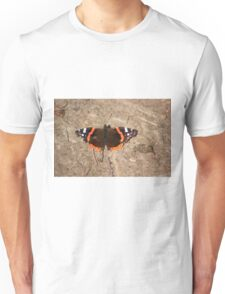 Red admiral on garden path Unisex T-Shirt