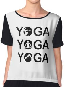 Yoga text with silhouette of people  Chiffon Top