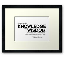 never mistake knowledge for wisdom - eleanor roosevelt Framed Print